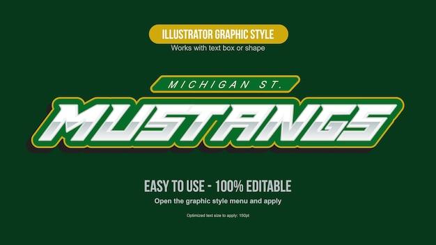 Metallic green italic sports text effect