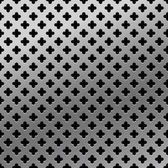Metallic grid realistic seamless pattern. metal steel mesh panel plate template. chrome steel stainless background.  seamless pattern