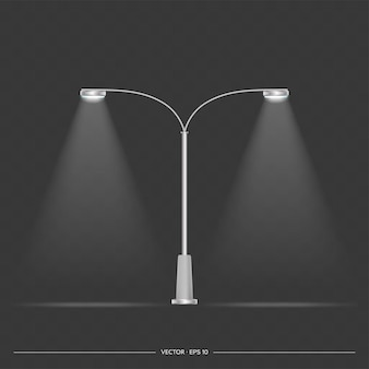 Металлические фонари, которые сияют. фонарный столб с реалистичным светом. вектор.