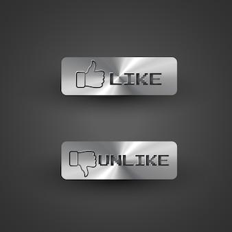 Metallic like and unlike buttons