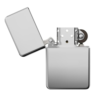 Metallic luxury lighter with open cover. vector illustration isolated on white background