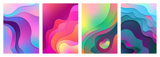 Metallic modern gradient active mixed gradient color paper cut art.