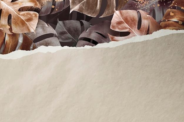 Metallic monstera leaf pattern background