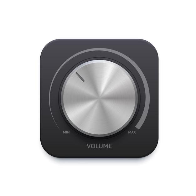 Metallic music sound round knob button, volume