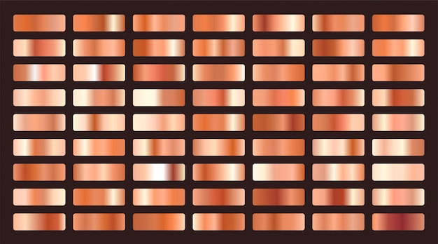 Grande set di sfumature metalliche arancio o rame
