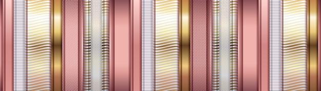 Металлический розовый и золотой абстрактный слой геометрический баннер
