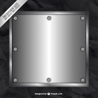 Metallic plate on black background