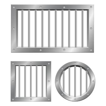 Metallic prison bars illustration isolated on white
