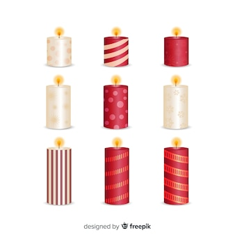 Metallic realistic christmas candles collection