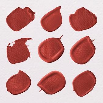 Vettore di raccolta di tratti di pennello rosso metallico