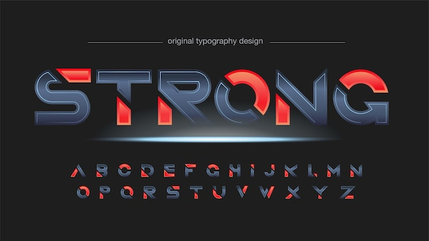 Metallic and red modern sports sliced typography