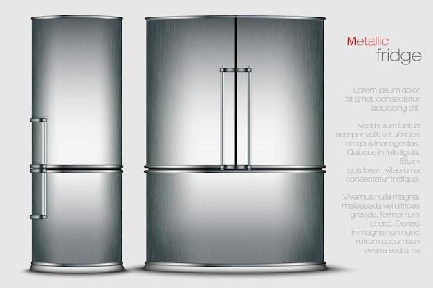 Metallic refrigerator.