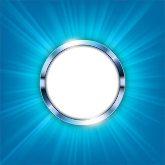 Metallic ring with text space and blue light illuminated