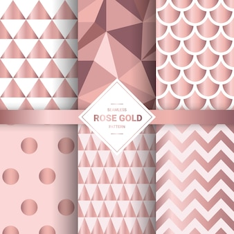Metallic rose gold seamless patterns.