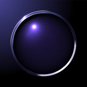 濃紺のグラデーションの背景にレンズ付きの金属製の丸いフレームwebボタンテンプレート