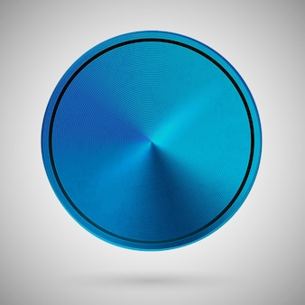 Metallic round template blue color metal texture blank circle on light gradient background