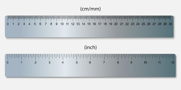 Metallic rulers, marked in centimeters, inches