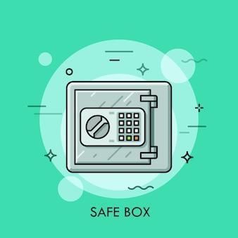 닫힌 문과 전자 잠금 코드 버튼이있는 금속 금고. 돈 저장, 안전, 보안, 은행 예금 개념.