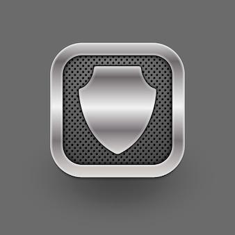 Metallic shield icon