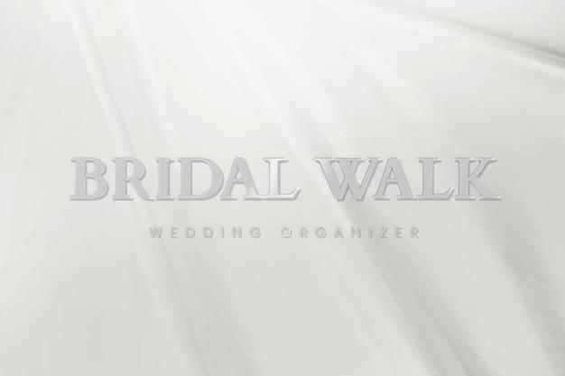 Vettore di modello logo argento metallico per organizzatore di matrimoni
