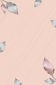 Metallic silver and pink leaves pattern background