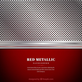 Metallic silver and red background Free Vector