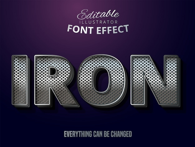 Metallic silver text effect, shiny steel alphabet style