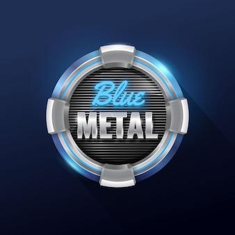 Metallic techno circle badge with grid