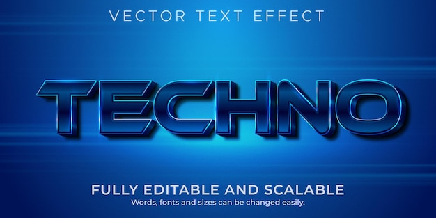 Metallic techno text effect, editable shiny and elegant text style