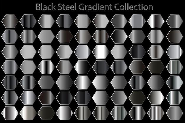 금속 질감 블랙 스틸 그라디언트 세트 컬렉션