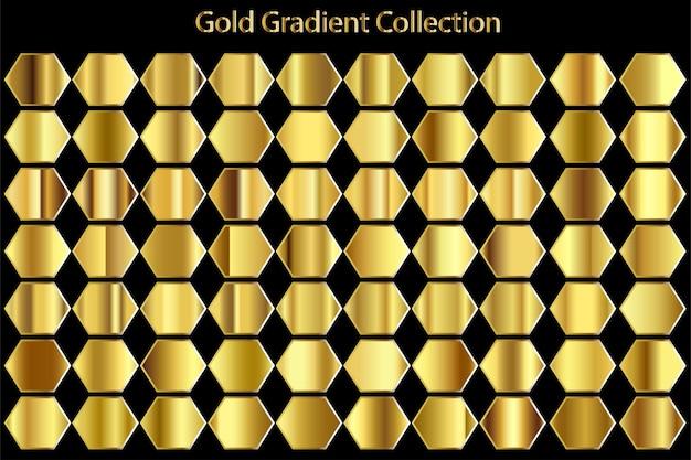 Metallic texture gold gradient set collection
