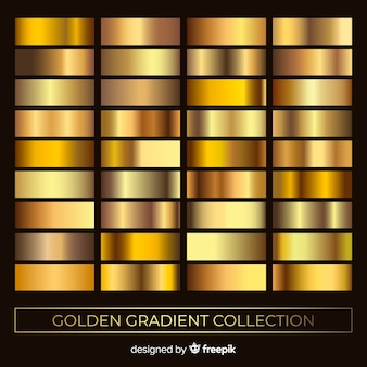 Metallic texture gold gradient set