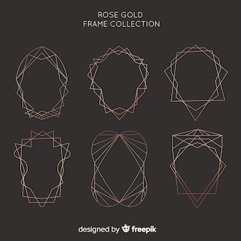 Metallic texture rose gold frame set