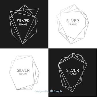 Metallic texture silver frame set