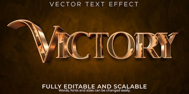 Metallic victory text effect, editable elegant and shiny text style