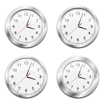 Metallic wall clock   illustration on white background