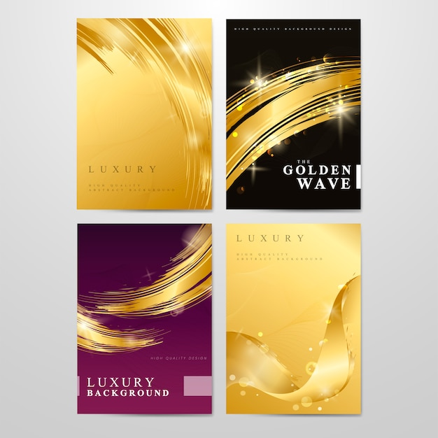Metallic wave abstract background set