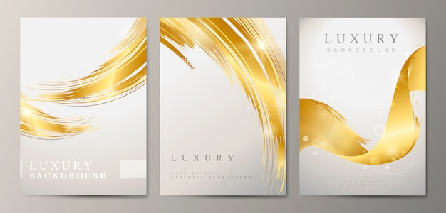 Metallic wave abstract brochure set