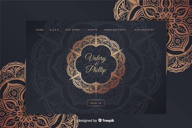 Metallic wedding landing page template