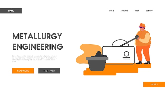Metallurgical heavy industry company website landing page.