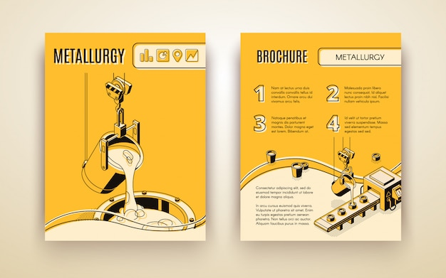 Metallurgical industry company, foundry manufacture isometric vector advertising brochure