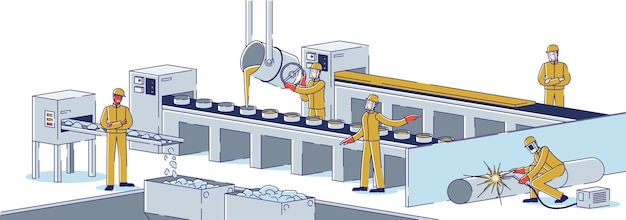 Metallurgical industry concept. team of metallurgists is working at metallurgical plant melting steel, manufacturing metal products. factory workshop. cartoon linear outline flat vector illustration