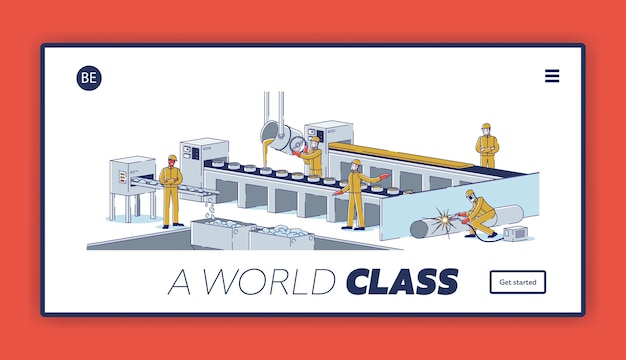 冶金業界のウェブサイトのランディングページ