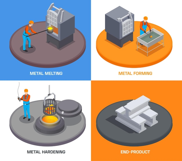 Metallurgy foundry industry isometric design concept with text and people operating metal melting and hardening facilities