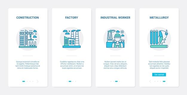 야금 산업, 플랜트 건설 ux, ui 온 보딩 모바일 앱 페이지 화면 세트