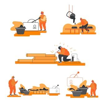 冶金産業セット。資源採掘、大鋳造所での金属の製錬、製鉄所での溶鋼注入。