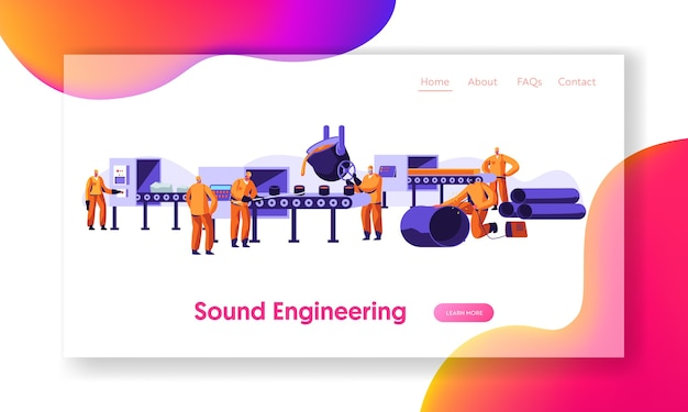 Metallurgy industry working process landing page template