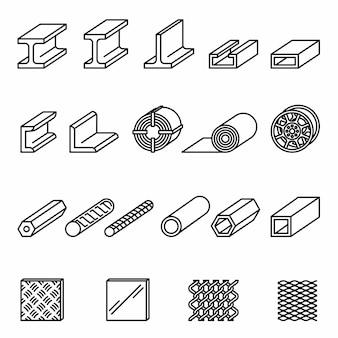 Значки продуктов металлургии установили с белой предпосылкой. стальная конструкция и трубы.