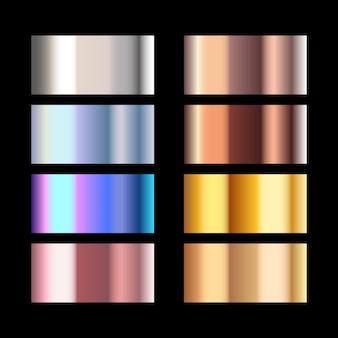 Metals of different texture set