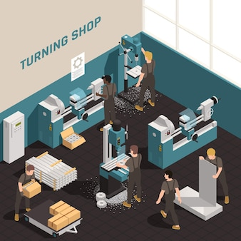 Metalworking  shop  facility  precision  equipment  isometric  composition  with  people  working  on  metal  lathes  turning  machines    illustration